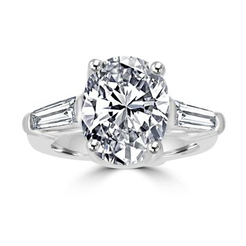 Classic Oval Center W/Side Baguette Simulated Diamond - Diamond Veneer Sterling Silver Engagement/Wedding Ring 635R72089