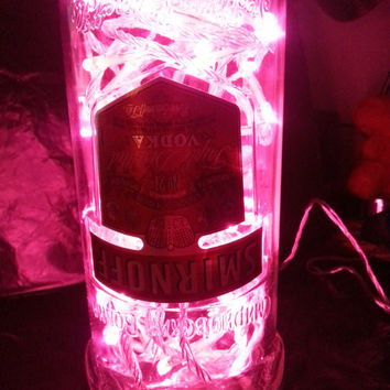 Upcycled Smirnoff Vodka Bottle Light Lamp with 80 pink LEDs mains