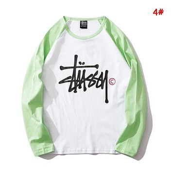 Stussy New fashion letter print contrast color couple hooded long sleeve sweater 4#