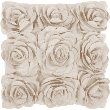 Felted Floral Throw Pillow Neutral