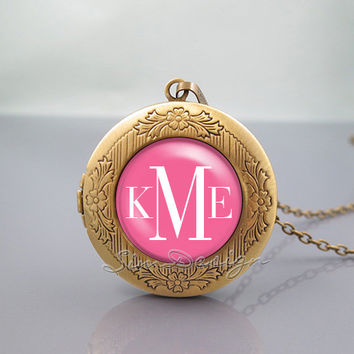 Monogram Photo Locket Necklace,vintage Rose pendant Necklace - ALL Colors Can be changed! [ Font style, Font color, Background color ... ]