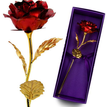 Artificial Gold Plated Rose Flower W/ Gift Box