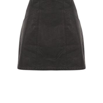 Black Leather-Look Seam Trim Mini Skirt | New Look