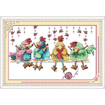 The chicken knitting a sweater Canvas DMC Counted Cross Stitch Kits printed Cross-stitch set Embroidery Needlework
