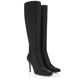 Jimmy Choo Women Fashion Leather High Boots Stiletto Shoes