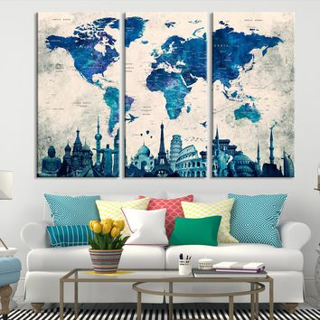 N14456 - Modern Large Blue Wall Art World Map Map Canvas Print for Living Room Decor Art- Ready to Hang