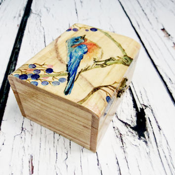 READY TO SHIP Decoupage wooden trinket box blue bird decoupage wonderful  wood color grain gift idea small box for her mothers day