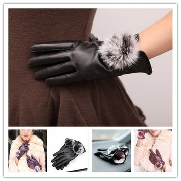 Fashion Women Pu Leather Gloves Girls Winter Soft Mitten Gloves Warm Driving Home Gift = 1932615620