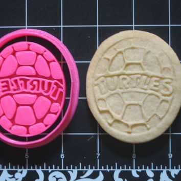 TMNT Inspired Turtle Shell Cookie Cutter Stamp Set BPA FREE Teenage Mutant Ninja Turtles