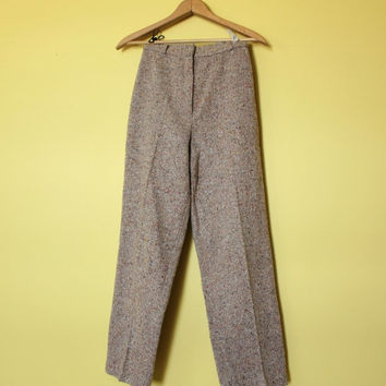 Vintage High Waisted Pants 70s Bobbie Brooks Straight Leg Tweed  Trousers XS Vtg Cafe
