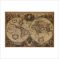 Leather Sea World Map Living Room Wall Sticker [6414269764]
