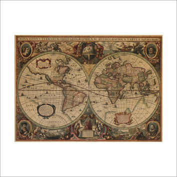 Leather Sea World Map Living Room Wall Sticker [8605202887]