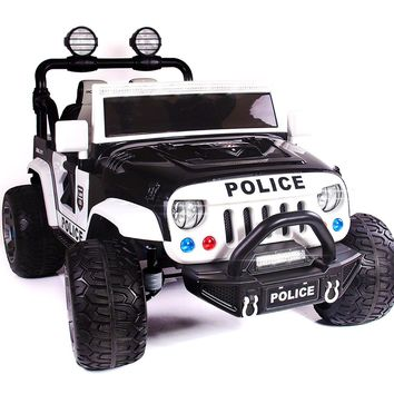 Explorer 12V Kids Ride-On Car Truck with R/C Parental Remote | Police