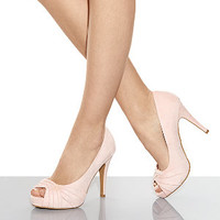 Wide Fit Light Pink Twisted Front Peep Toe Court Shoes
