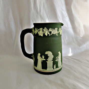 Edwardian Wedgwood Jasperware  Dark Olive Green Jug Pitcher ca 1900