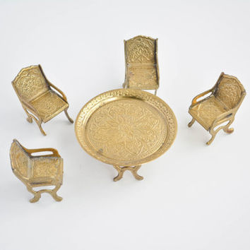 Vintage Miniature Brass Dining Set - Toy Furniture Table, Chairs, Goblets & Teapot