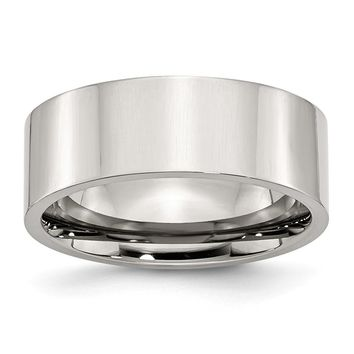 Comfort Fit Flat Ring in Stainless Steel - 8 Mm