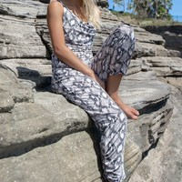 Winning Snakeskin Cowl Neck Jumpsuit