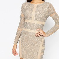 Missguided | Missguided Premium Panelled Embellished Mini Dress at ASOS