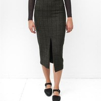 Creatures of Comfort Therese Skirt- Loro 2 Face Olive Plaid