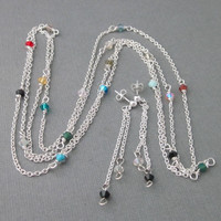 Extra Long Sterling Silver Chain With Multicolored Swarovski Crystals