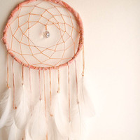 Large Dream Catcher - Pure Magic - With Crystal Prism and Natural White Swan Feathers - Boho Home Decor, Nursery Mobile