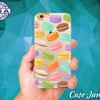 Macaron Cookie Pattern Rainbow Colors French Macaroons Pastry Custom Clear Transparent Rubber Case Cover For iPhone 6 and iPhone 6 Plus +