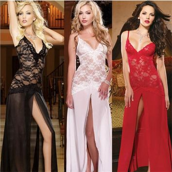 Hot Long Sexy Lingerie Women Sexy Nightwear Sleepwear Black/Red/White Sexy Women's NightGowns See Through Sheer Lace Nightdress