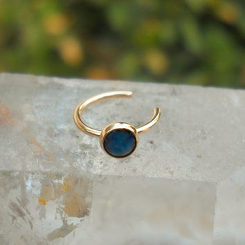 NON PIERCED Paua Shell Nose Ring Hoop 14K Yellow Gold Filled Handcrafted 3mm Stone No Piercing Required