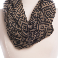 Easy Aztec Infinity Scarf, Taupe