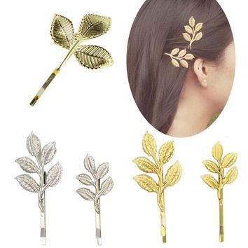 2Piece Design Leaf hair clip Punk Leaves Flower hairwear hairpin Olive branch Barrettes bobby pin Free Shipping