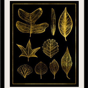 Gold Leaves Botanical Metallic Art Print 8x10 inches