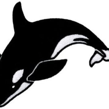 Killer Whale Embroidered Patch Orcinus Orca Iron-On Blackfish Applique