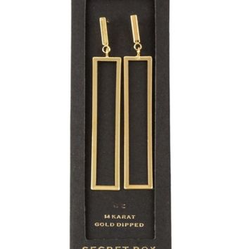 14K Dipped Rectangle Drop Earring