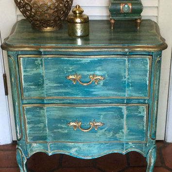 Blue Nightstand French Style Vintage 1950s