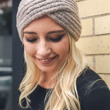 Cross Over Knit Headband - Mocha
