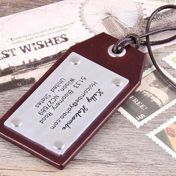 Leather Luggage Tags - Personalized Hand made Luggage Tags - Graduation Gift - Christmas Gift