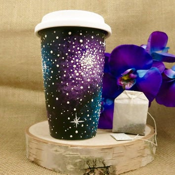 Hand Painted 12oz Galaxy Travel Mug