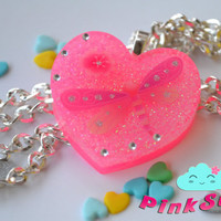 Neon Pink Resin Heart with Dragonfly and Rhinestones - Necklace Pendant - Handmade by PinkSugArt