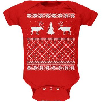 DCCKJY1 Reindeer Caribou Ugly Christmas Sweater Red Soft Baby One Piece