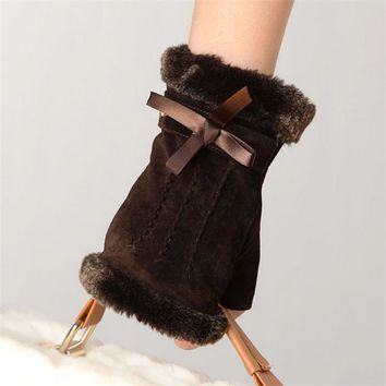 Fashion Women Suede Pigskin Gloves Rabbit Hair Wrist Fingerless Mittens Bowknot Half Finger Genuine Leather Glove Sale L128NQ