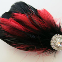 Bridal Wedding Bridesmaid Feather Hair Accessory, Feather Fascinator, Bridal Hair Piece, Red, Black, Gothic
