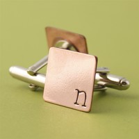 Offset Initial Cuff Links - Spiffing Jewelry