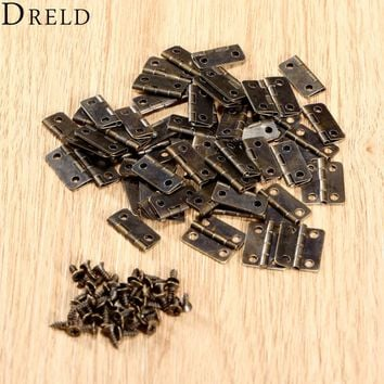 50Pcs 16x13mm Antique Bronze/Gold Cabinet Hinges Furniture Accessories Jewelry Boxes Small Hinge Furniture Fittings For Cabinets