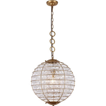 Bellagio 1-Light Pendant, Antique Gold Leaf Finish, Clear Glass