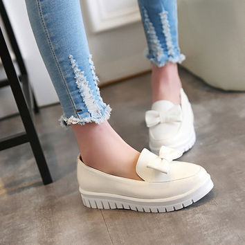Casual Bow Women Flats Platform Shoes Big Size