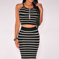 Black Striped Spaghetti Strap Bodycon Cropped To with Midi Skirt Set