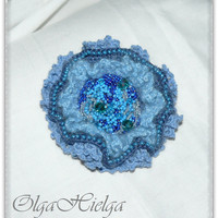 Blue victorian brooch Embroidery brooches Wedding brooches Beaded antique brooches Crochet brooches Boho style Shabby chic Gift for her