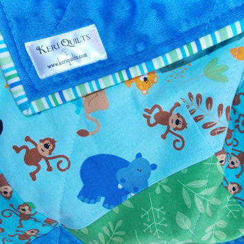 Baby Boy Quilt Blanket  Zoo Animals Giraffe Lion Zebra Monkey  Green Blue Minky