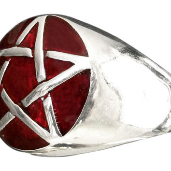 Sterling Silver Pentacle Ring Celtic Pentagram Wicca Symbol with Burgundy Enamel